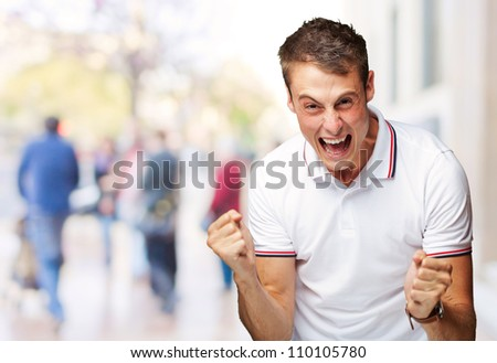 Portrait Of  Man Expressing His Excitement, Outdoor