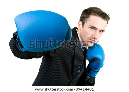 Portrait of man, handsome male model in gloves boxing at work - studio shot on white background