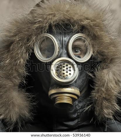 Portrait of man in respirator