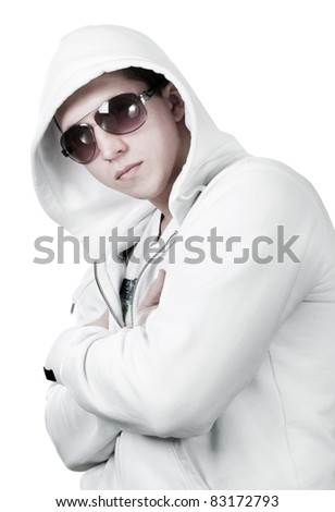 Portrait of man in white sweatshirt isolated