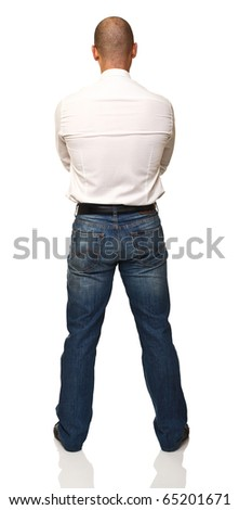 portrait of man rear view isolated on white background