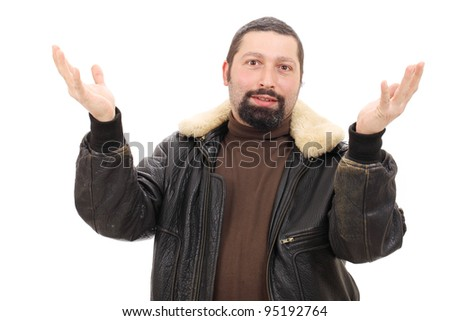 Portrait of man shrugging, isolated on white