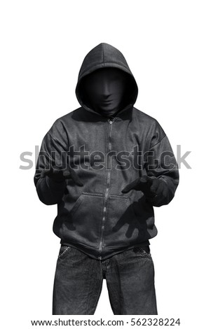 Stock Photo Portrait of man wearing anonymous mask isolated against white background
