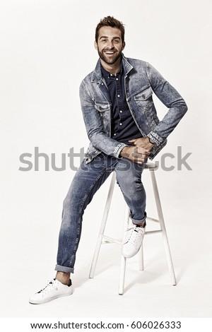 Portrait of man wearing denim in studio