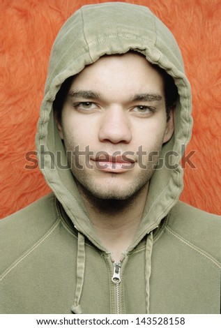Portrait of man wearing hoody