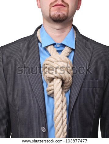 portrait of man with loop tie on white
