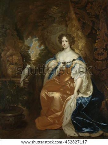 Portrait of Mary Stuart (1662-95), Wife of Prince William III, by Caspar Netscher, c. 1680-84, Dutch painting, oil on canvas. The future Queen of England, in role robes as Princess of Orange and Coun