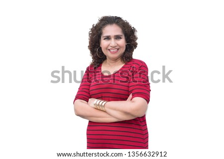 Portrait of mature asian woman smile to the camera isolated on white background with clipping path.