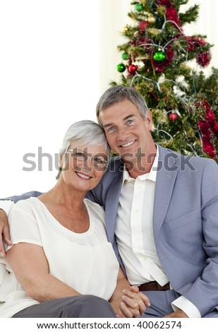 Portrait of mature couple celebrating Christmas at home