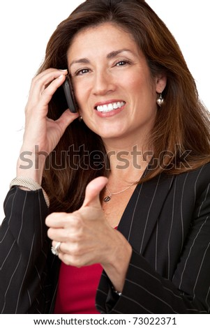 Portrait of mature elegant businesswoman wearing black suit isolated on white background talking on cell phone with thumbs up.