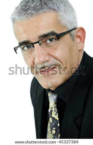 Portrait of mature gray haired creative looking businessman, isolated on white background.