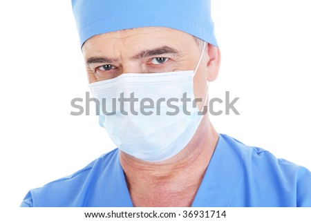 portrait of mature male surgeon in medical mask  - isolated on white