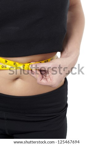 Portrait of measuring the waist line of a woman against white background