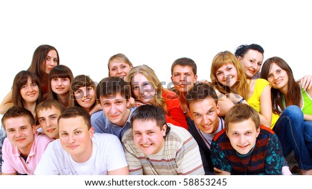 Portrait of men and women standing together against white background #58853245