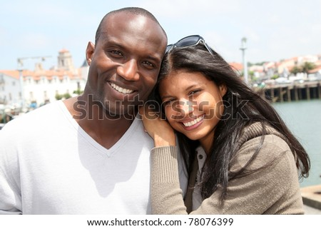 stock photo : Portrait of metis couple in town