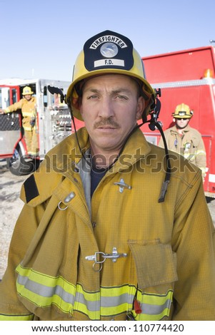 Portrait of middle aged firefighter