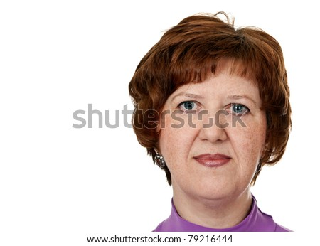 portrait of middle-aged woman closeup on white background