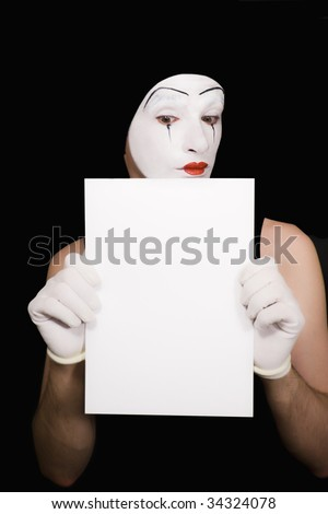 Portrait of  mime on  black background