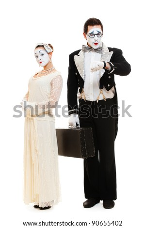 portrait of mimes in costumes. isolated on white background