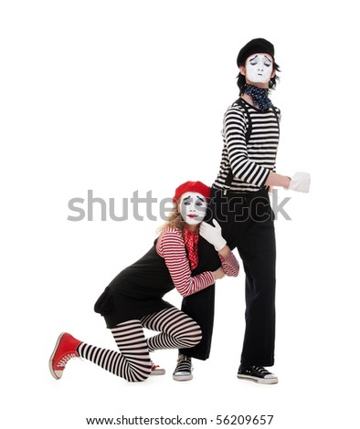 portrait of mimes. isolated on white background