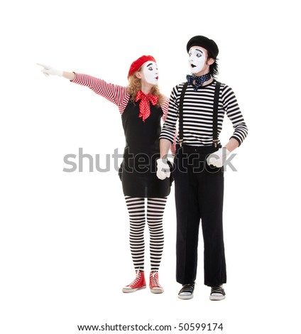 portrait of mimes. woman pointing at something. isolated on white background