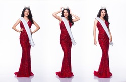 Portrait of Miss Asian Pageant Beauty Contest in Red sequin Evening Ball Gown long dress with light Diamond Crown and sash, studio lighting white background, collage group pack of full length body