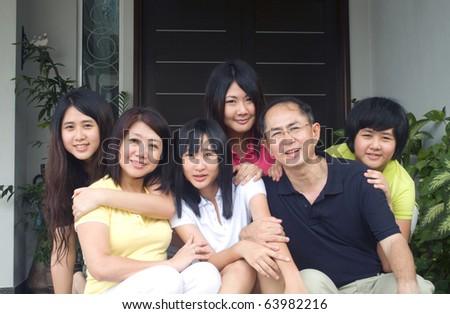 portrait of modern asian family