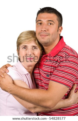 Portrait of mother and her adult son hugging isolated on white background