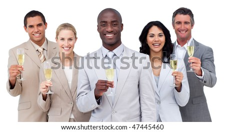 Portrait of multi-ethnic business team drinking champagne against a white background