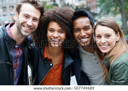 Portrait of multi-ethnic friends in New york Stock photo ©
