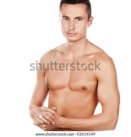 portrait of naked attractive positive young caucasian man, face and torsi of young beauty man, smiled caucasian sportsman, perfect man body, isolated on white background image