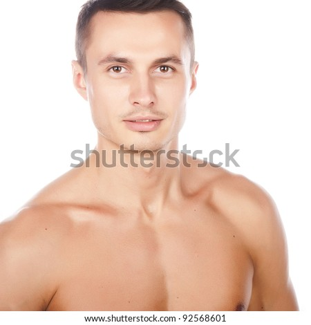 stock photo portrait of naked attractive positive young caucasian man face and torso of young beauty man nice 92568601 stock photo : portrait of naked attractive positive young caucasian man, ...