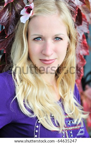 portrait of natural blond woman in fall time - stock photo