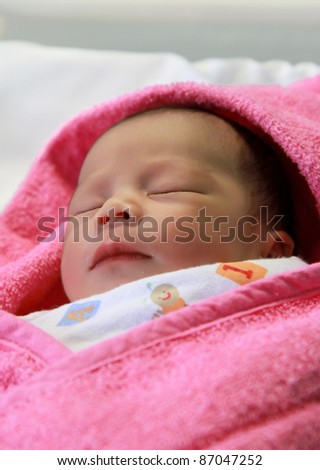 Portrait of New Born Baby Sleeping