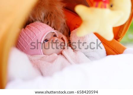 portrait of newborn baby in...