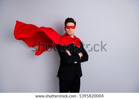 Portrait of nice attractive strong virile macho masculine incognito ready perfect great excellent ideal guy wearing bright super look outfit mantle isolated over light gray background Foto stock ©