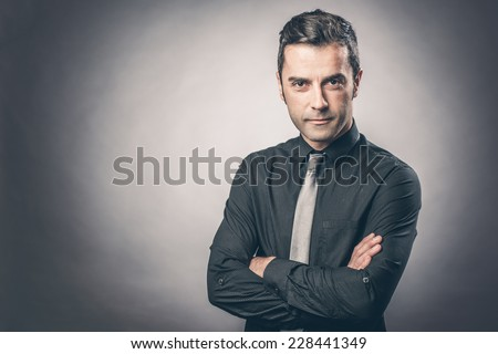 Portrait of nice-looking businessman