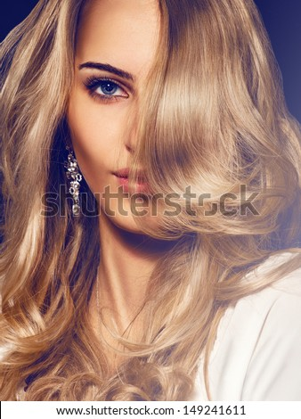 Portrait of nice young adult blonde
