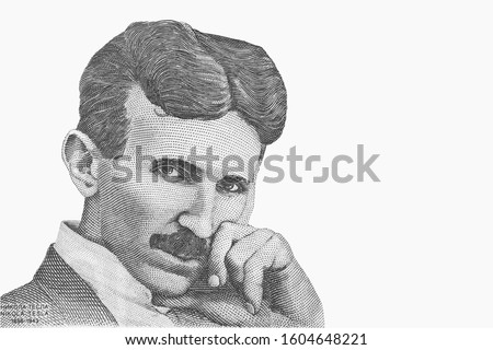 Portrait of Nikola Tesla. Genius scientist and inventor of electricity. Isolated from vintage paper banknote.