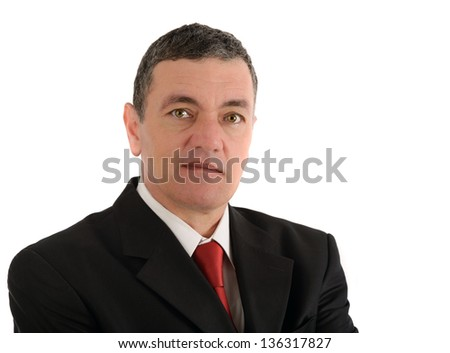 Portrait of old business man isolated on white background