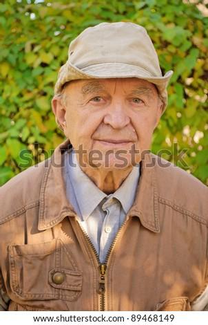 portrait of old man in garden