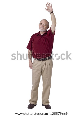 Portrait of old man raising his hand while looking something against white background