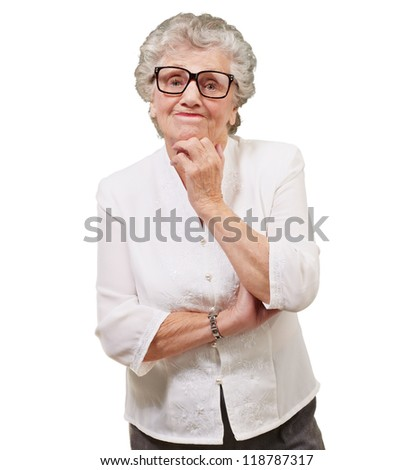 Portrait Of Old Woman On White Background