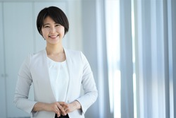 Portrait of one indoor Japanese woman