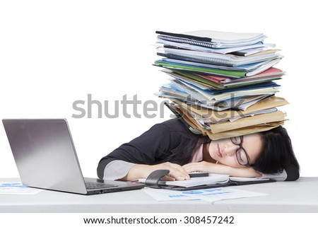 Tired Japanese Businesswoman From Over Work Images And Stock