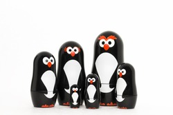 Portrait of penguin toy figure family