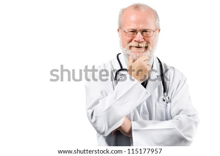Portrait of pensive senior medical doctor isolated over white background