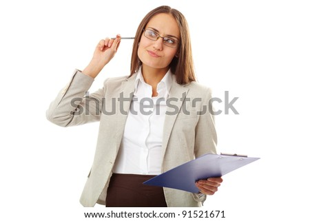 Portrait of pensive teacher with pen and clipboard looking aside in isolation