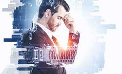 Portrait of pensive young businessman standing in blurry city. Concept of decision taking and brainstorming. Toned image double exposure