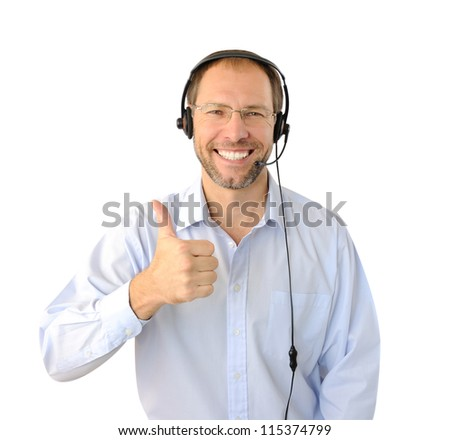 Portrait of phone operator showing thumb up isolated on white ba